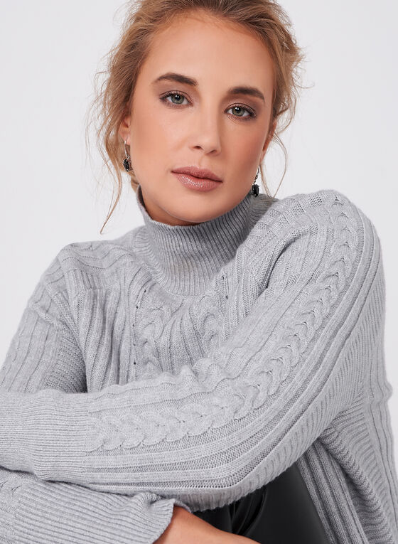 Funnel Neck Knit Sweater, Grey, hi-res