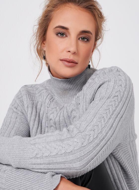 Pull en tricot à col cheminée, Gris, hi-res