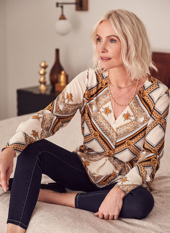 Baroque Print Belted Tunic, White,  top, tunic, chain, belted, long sleeves, v-neck, crossover, ornamental, spring summer 2021