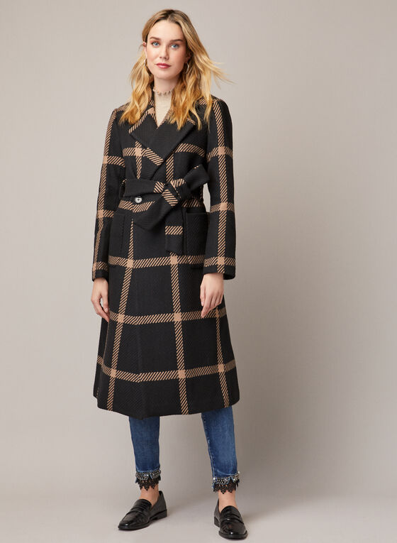Check Print Belted Coat, Black