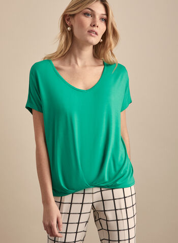 Tapered Hem V-Neck Top, Green,  Top, spring summer 2020, jersey, short sleeves, pintuck detail