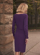 Ruched Sleeve Jersey Dress, Purple