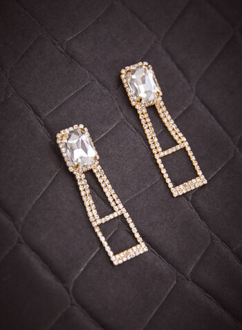 Rectangular Stone Crystal Earrings, Gold,  fall 2021, jewellery, accessory, accessories, earrings, dangle, drop, rectangular shape, faceted stone, crystal border, crystal ladder bottom, pushback, closure