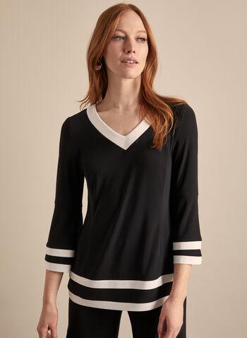 Joseph Ribkoff - Haut contrastant en jersey, Noir,  printemps été 2020, blouse, haut, jersey, manches 3/4, manches cloche, contrastant, bicolore, Joseph Ribkoff, fait au Canada