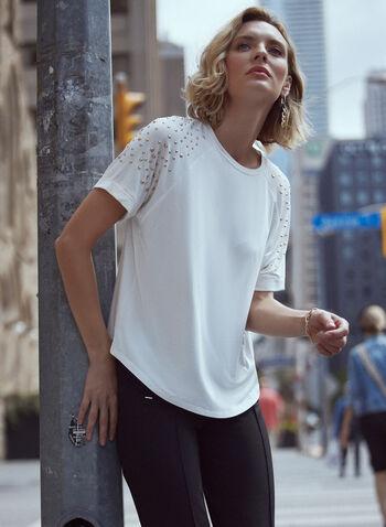 T-shirt à manches courtes à détails cloutés, Blanc cassé,  haut, t-shirt, encolure ras du cou, manches courtes raglan, détails cloutés, automne hiver 2021