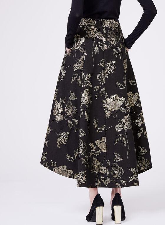 Fit & Flare High Low Skirt, Black, hi-res