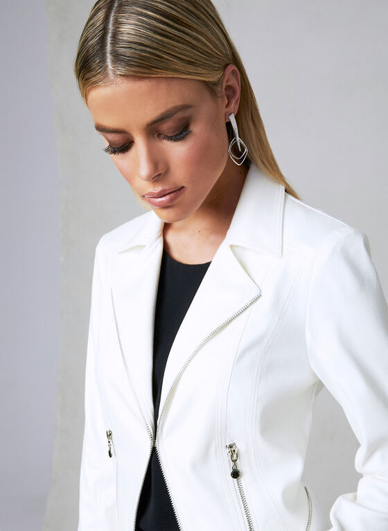 Vex - Faux Leather Jacket, Off White