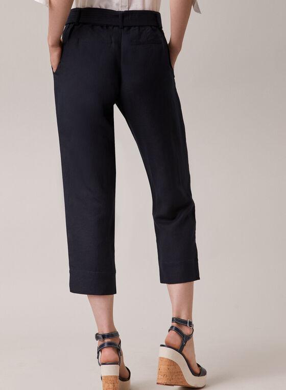 Linen Blend Belted Capri Pants, Blue