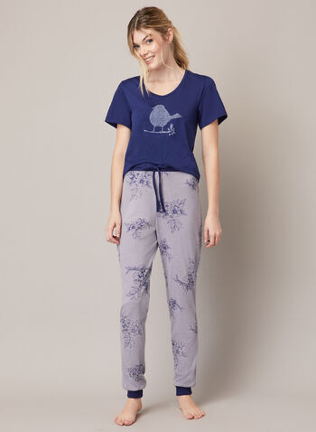 Two-Piece Pyjama Set, Grey,  fall winter 2020, pyjama, set, two-piece, floral, t-shirt, pants, contrast. rounded, v-neck