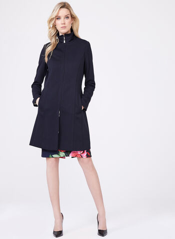 Nuage - Stand Collar Long Coat , Blue, hi-res