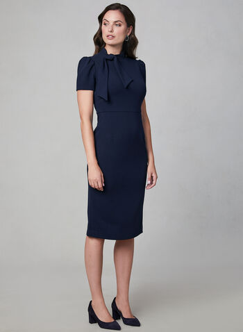Maggy London - Tie Detail Sheath Dress, Blue, hi-res