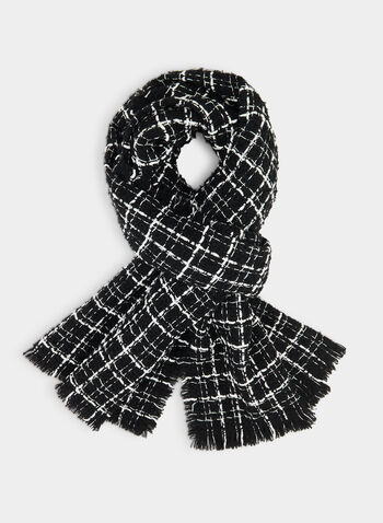 Plaid Print Scarf, Black,  plaid scarf, plaid print, scarf, fall 2019, winter 2019