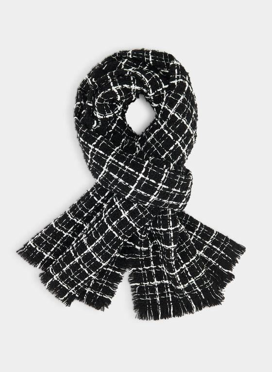 Plaid Print Scarf, Black