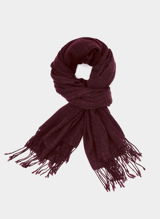 Twisted Fringe Scarf, Red, hi-res