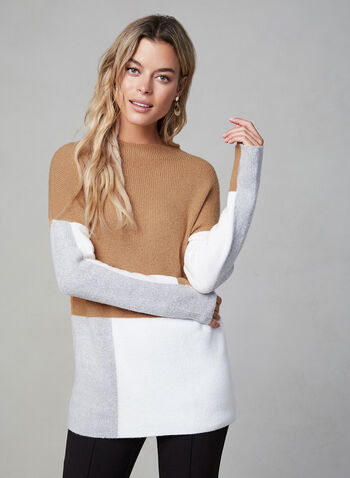Mock Neck Colour Block Sweater, Brown,  mock neck, colour block, knit, sweater, long sleeves, fall 2019, winter 2019