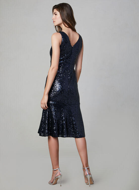 Maggie London – Sequin Mermaid Dress, Blue, hi-res