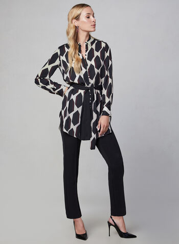 Geometric Print Tunic, Brown, hi-res,  long sleeves, belted, tie detail, fall 2019, winter 2019