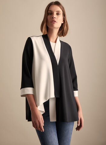 Joseph Ribkoff - Colour Block Top, Black,  3/4 sleeves, jersey fabric, black and white, 3/4 sleeves, spring summer 2020