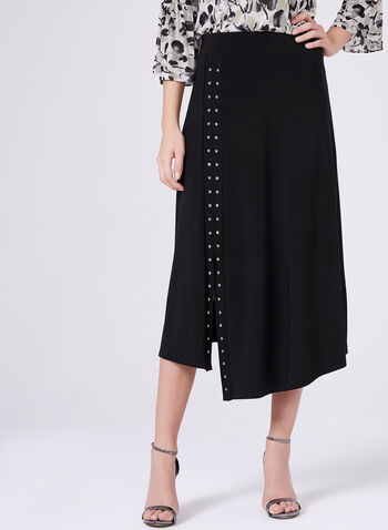 Studded Jersey A-Line Skirt, Black, hi-res
