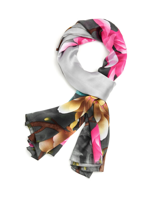 Oblong Bird & Floral Print Scarf, Grey, hi-res