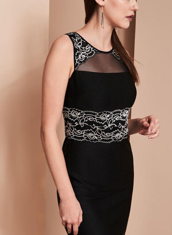 Jax Sleeveless Lace & Mesh Satin Crepe Dress, Black, hi-res