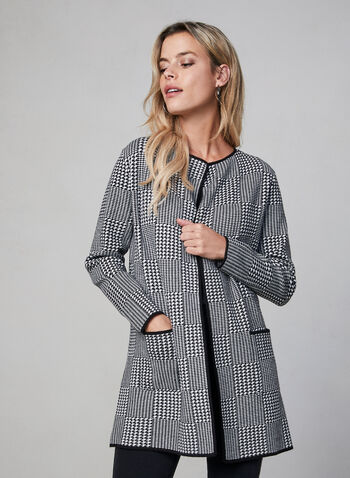 Houndstooth Print Cardigan, Black, hi-res,  cardigan, knit, long sleeves, open front, houndstooth print, fall 2019, winter 2019