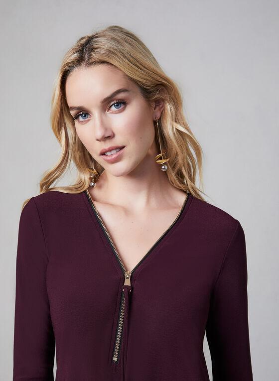 Haut zippé à dos asymétrique, Violet, hi-res