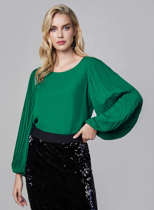Pleated Long Sleeve Blouse, Green