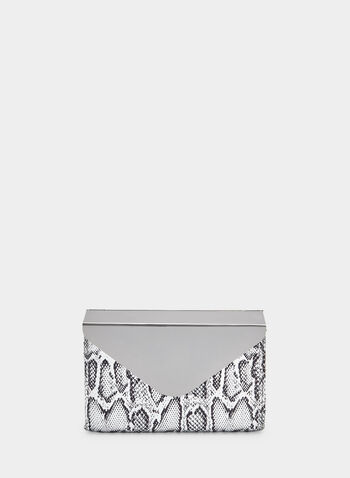 Snake Print Envelope Clutch, Silver, hi-res,  envelope, flapover, faux snakeskin, faux leather, vegan, fall 2019, winter 2019