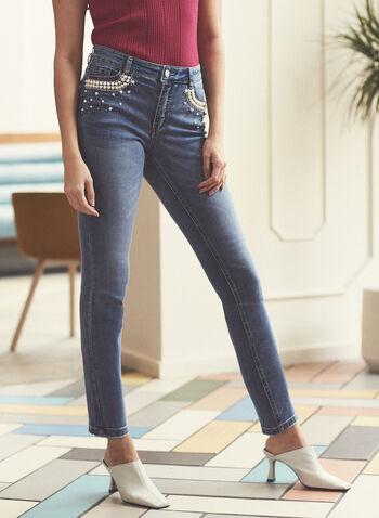 Jeans étroit ornementé , Bleu,  printemps été 2021, bas, pantalon, jeans, denim, strass, perles, jambe étroite, fermeture à glissière, extensible