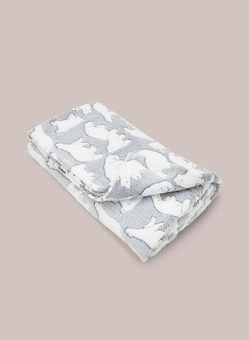 Polar Bear Motif Blanket, Grey,  sleepwear, blanket, polar bear, fleece, fall winter 2020