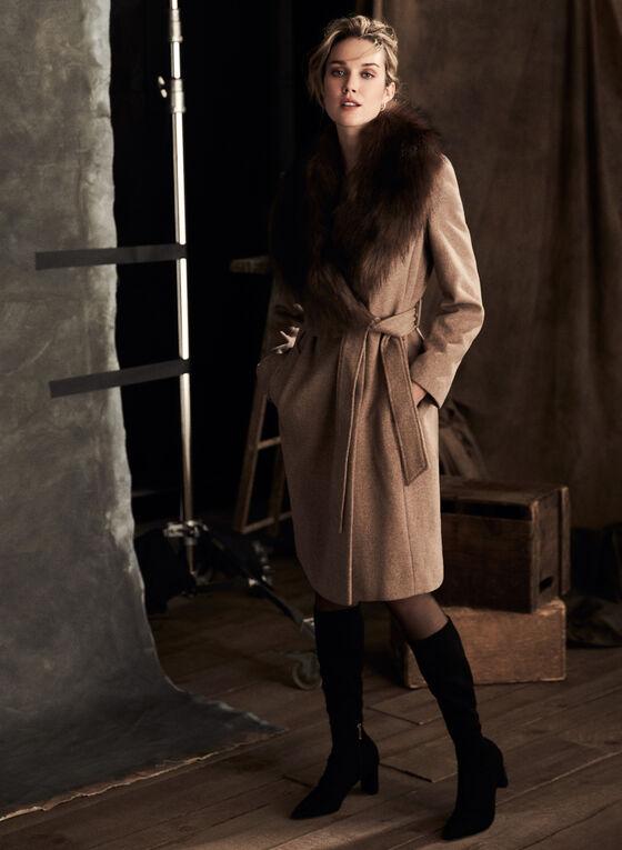 Ellen Tracy - Wool Blend Belted Coat, Brown