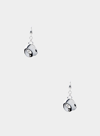 Metal Disc Earrings, Silver, hi-res,  silver earrings