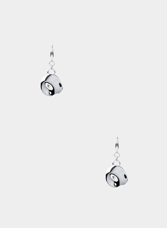 Boucles d'oreilles en métal martelé , Argent