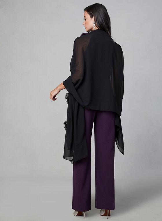 Foulard en mousseline volantée, Noir, hi-res