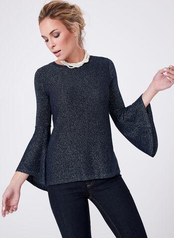 ¾ Bell Sleeve Glitter Knit Sweater, Blue, hi-res