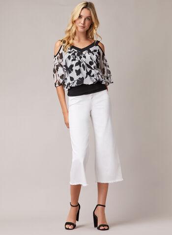 Jeans gaucho à ourlet effiloché, Blanc,  jeans, gaucho, denim, jambe large, franges, effiloché, printemps été 2020
