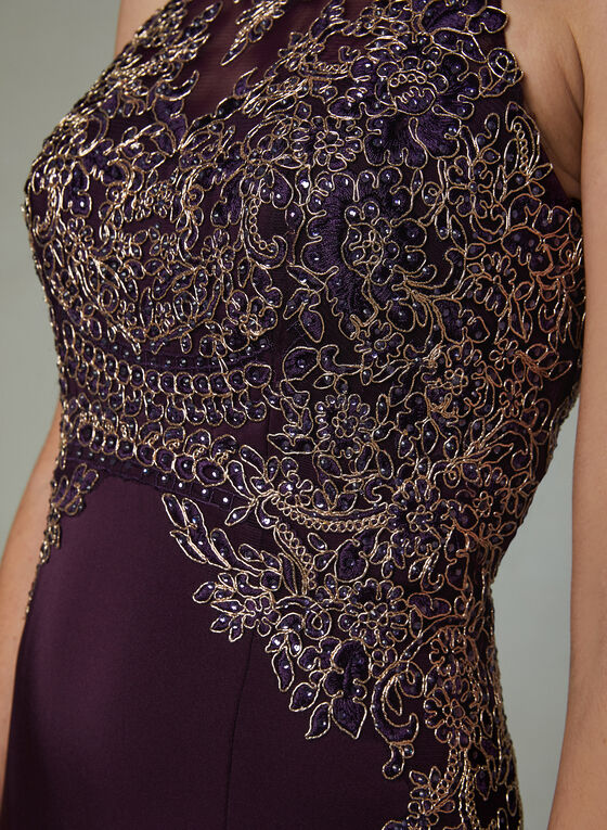 Cachet - Halter Neck Illusion Dress, Purple, hi-res