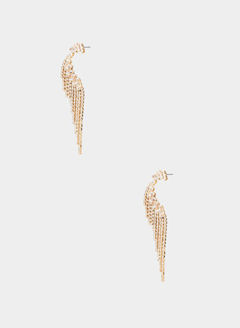 Crystal Chandelier Earrings, Gold,  earrings, chandelier, crystal wing, fall 2019