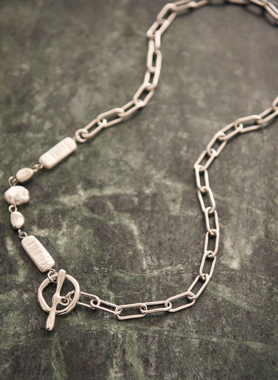 Mixed Stone Chain Link Necklace, Off White