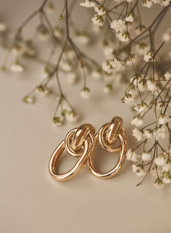 Interlinked Earrings, Gold,  earrings, golden, metallic, link, hoop, ring, oval, spring summer 2021