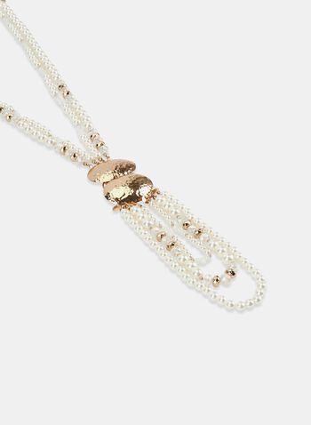 Collier de perles à disques métalliques, Blanc cassé, hi-res