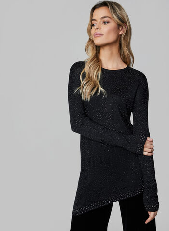 Studded Knit Sweater, Black, hi-res,  knit, sweater, studs, asymmetrical, long sleeves, dolman sleeves, fall 2019, winter 2019