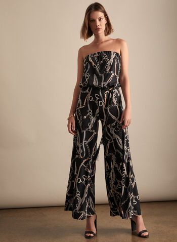 Strapless Printed Jumpsuit, Black,  spring summer 2020, jumpsuit, jersey, printed, wide leg, belt at waist