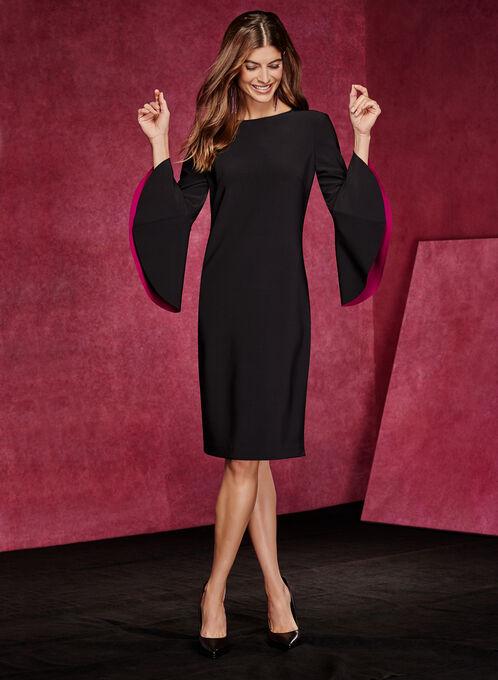 Cachet - Robe manches longues cloche à doublure contrastante, Noir, hi-res