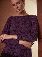Long Sleeve Crepe Top, Purple