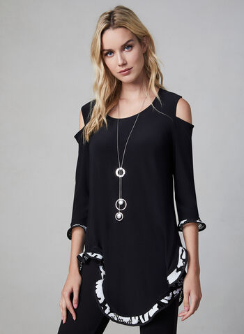 Joseph Ribkoff – Cold Shoulder Asymmetric Tunic, Black, hi-res,