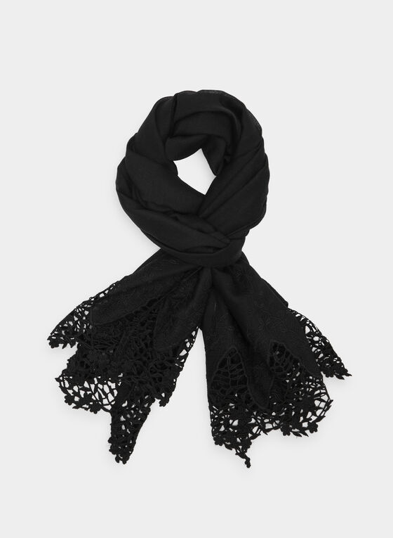 Lace Trim Scarf, Black, hi-res