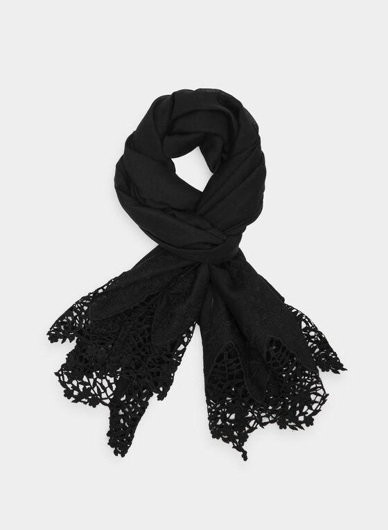 Foulard à ourlet en crochet, Noir, hi-res