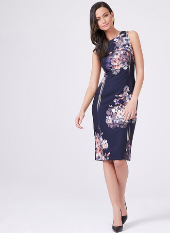 Adrianna Papell – Floral Stripe Print Sheath Dress, Blue, hi-res